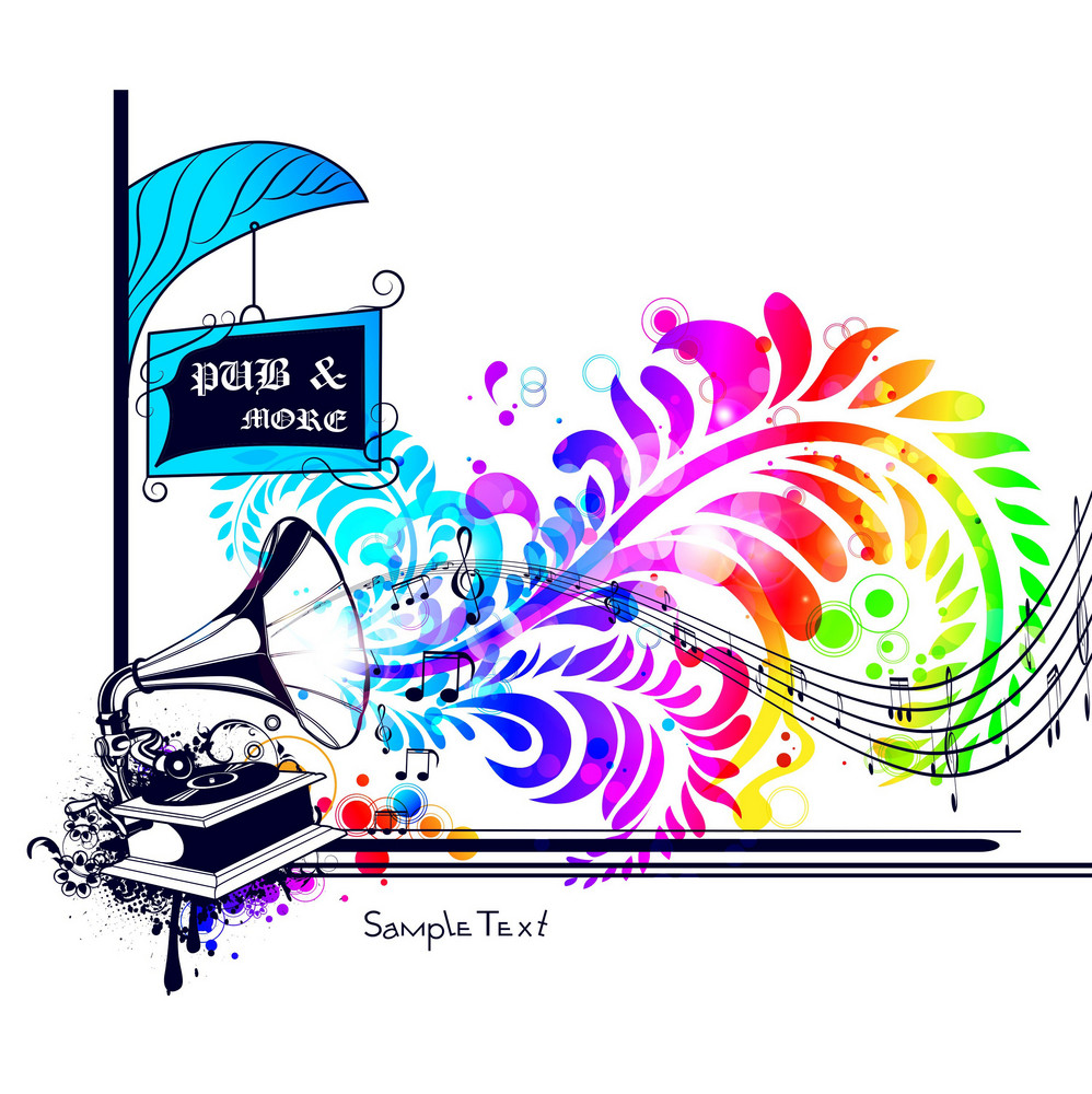 Vector Colorful Music Illustration With Gramophone