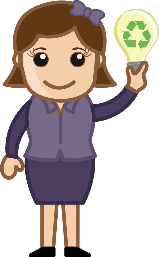 Vector Concept - Lady Holding A Bulb With Recycle Icon