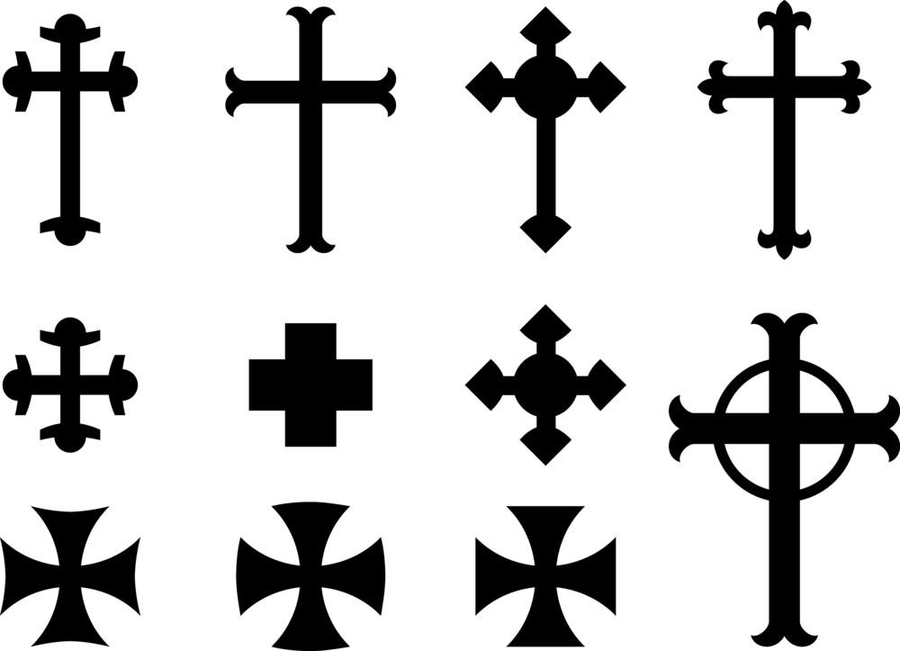 Vector Crosses Religious Symbols Royalty Free Stock Image
