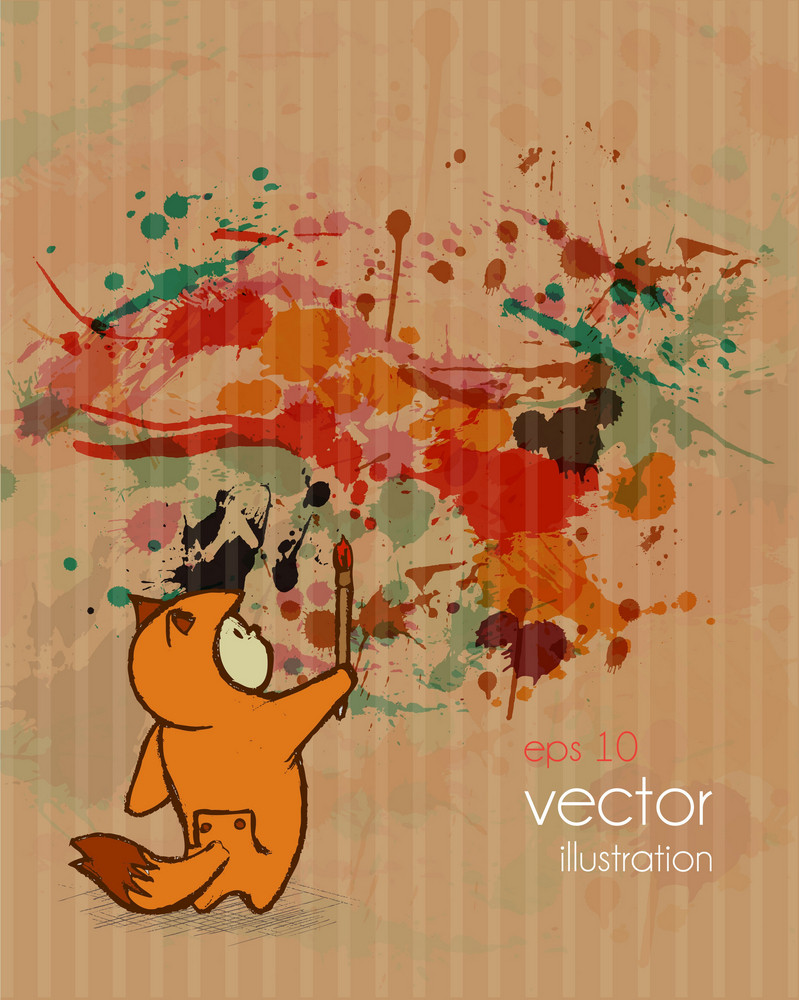 Vector Cute Kid With Grunge Background