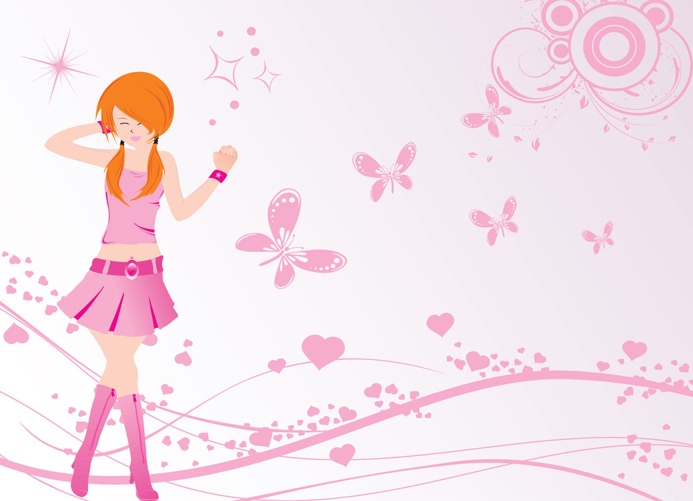 Vector Dancing Girl And Floral With Butterfly And Heart