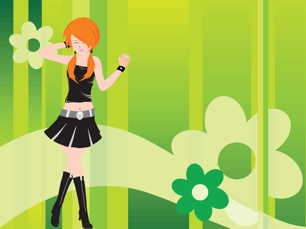 Vector Dancing Girl And Floral_3