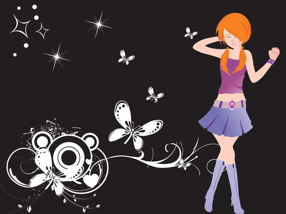 Vector Dancing Girl And Floral_4
