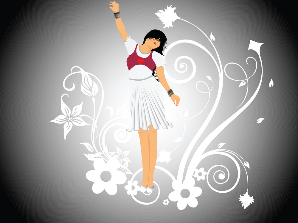 Vector Dancing Girl And Floral_5