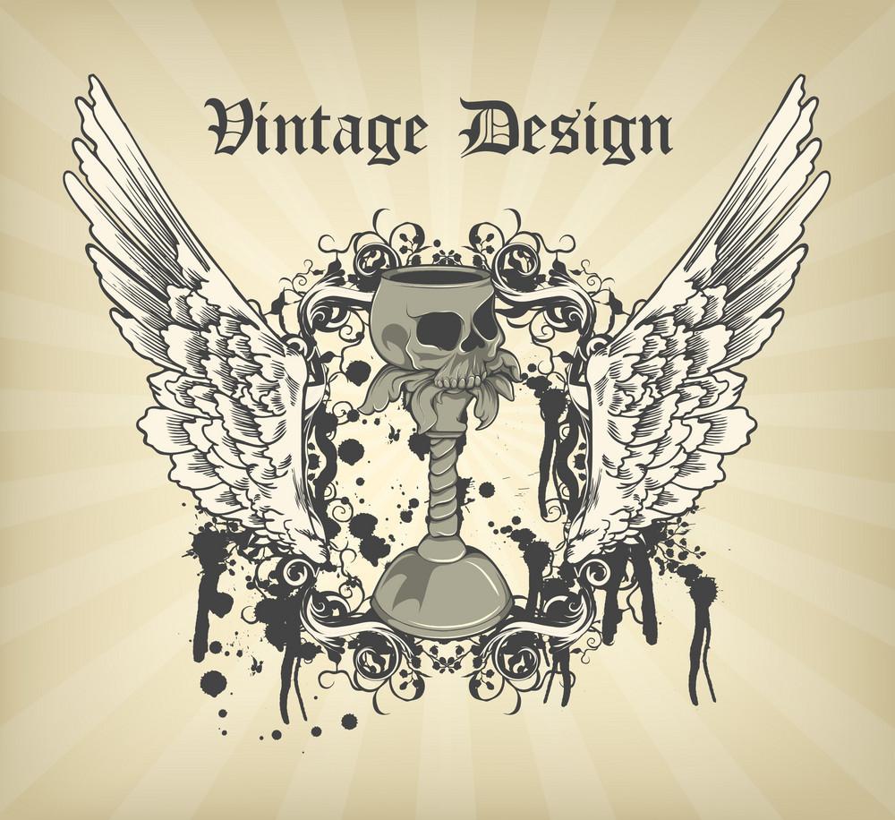 Vector Dark Gothic Illustration With Grail