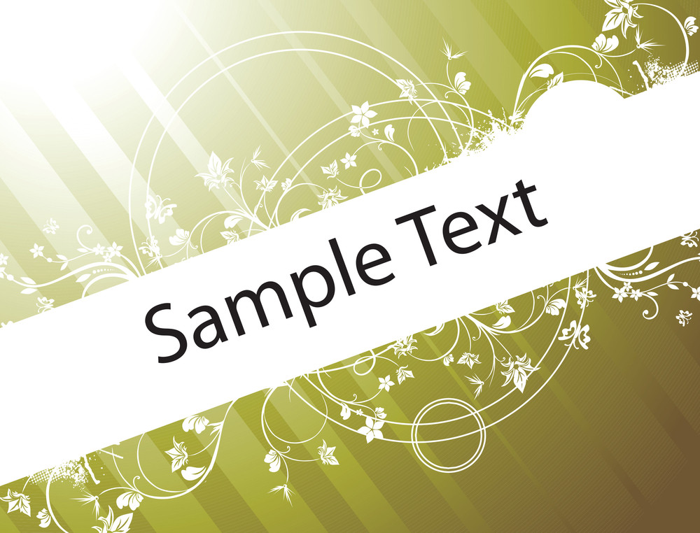 Vector Design Elements And Butterfly For Sample Text On Green Texture