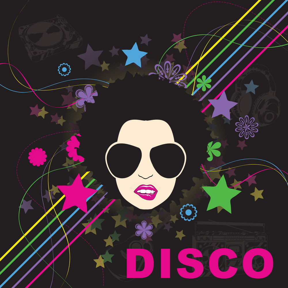 Vector Disco Background With Funky Face
