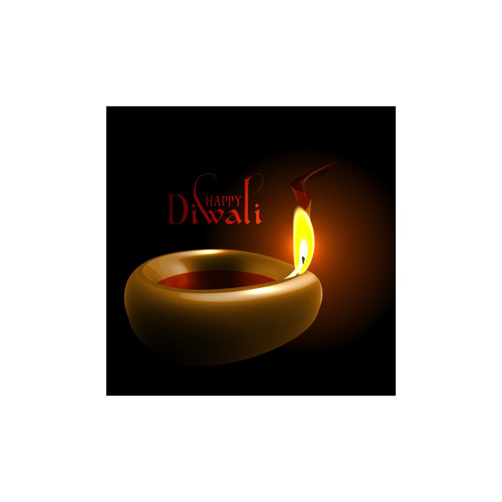 Vector Diwali Oil Lamp