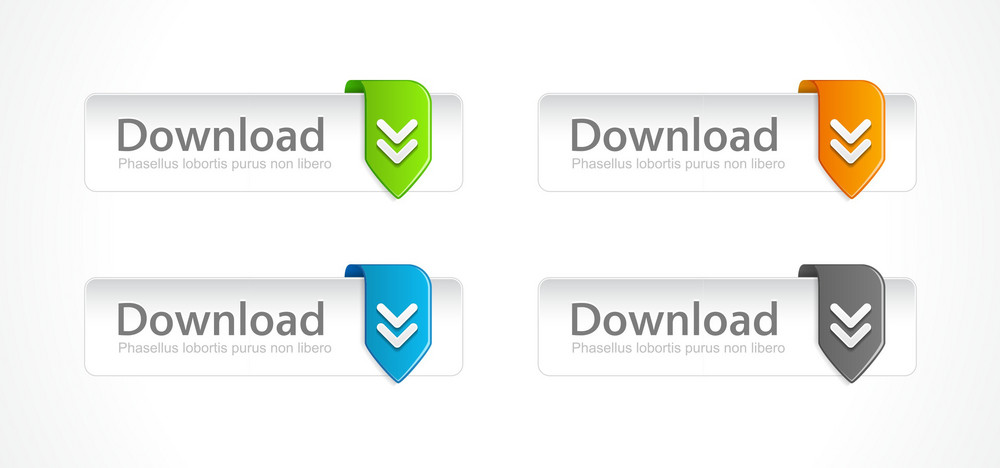 Vector Download Buttons Set