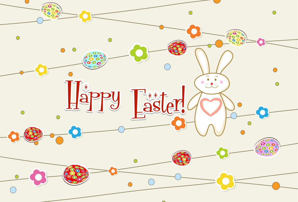 Vector Easter Background With Bunny