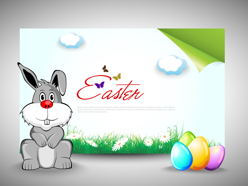 Vector Easter Bunny With Colorful Eggs And Copy Space.