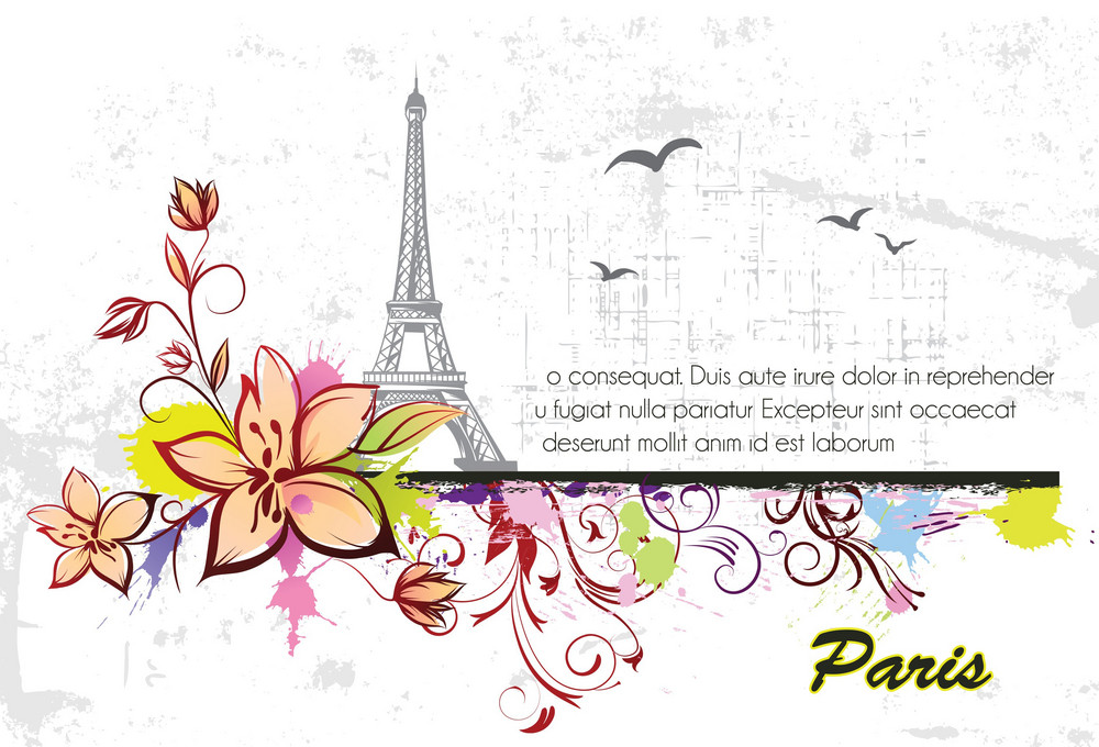 Vector Eiffel Tower With Floral And Grunge