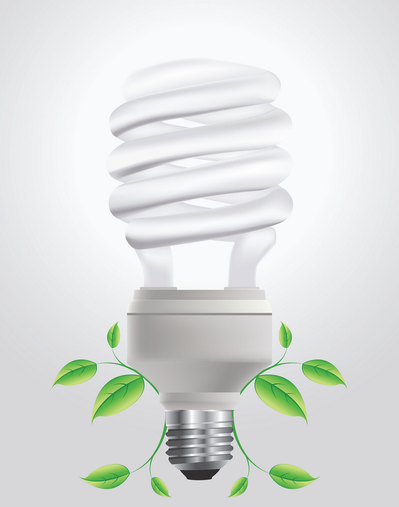 Vector Energy Saving Lightbulb With Floral