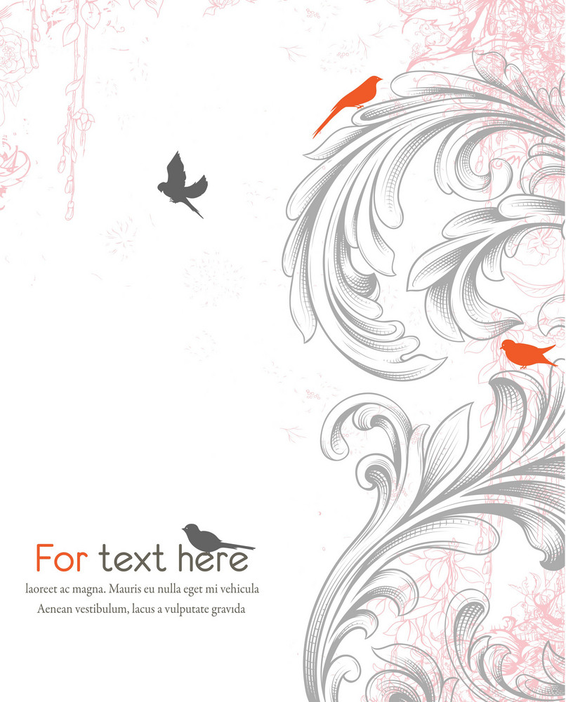 Vector Engraved Floral Background With Birds