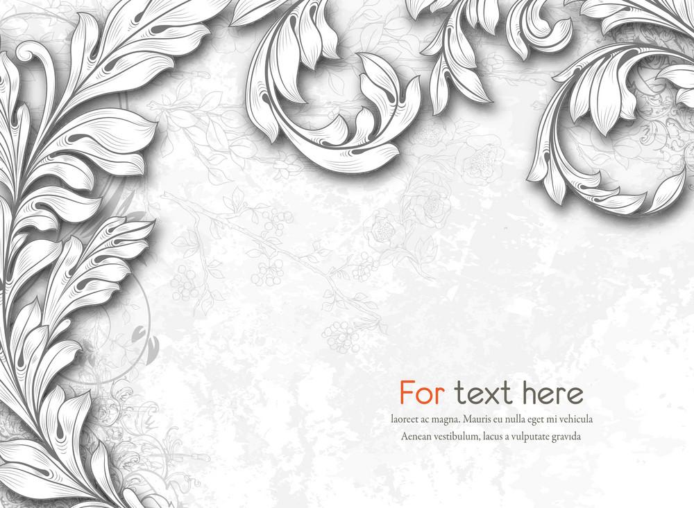 Vector Engraved Floral Background