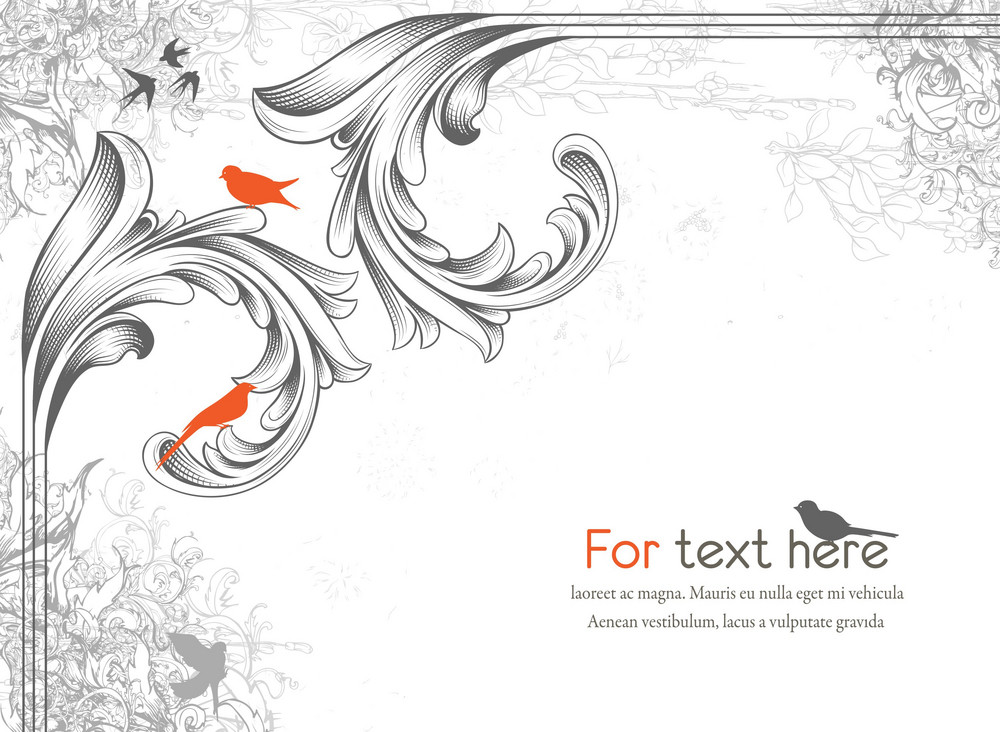 Vector Engraved Floral Corner With Birds