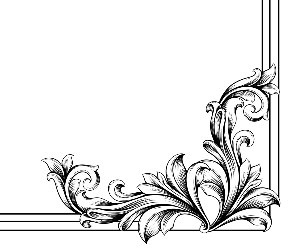 Vector Engraved Floral Corner Royalty-Free Stock Image ...