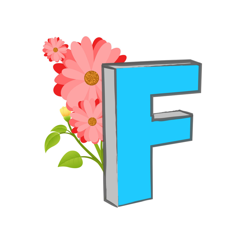 Vector F Alphabet With Flower