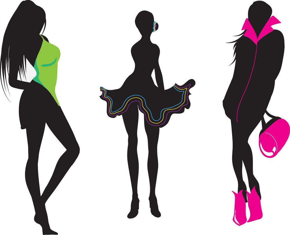 Vector Fashion Women Silhouettes Royalty Free Stock Image