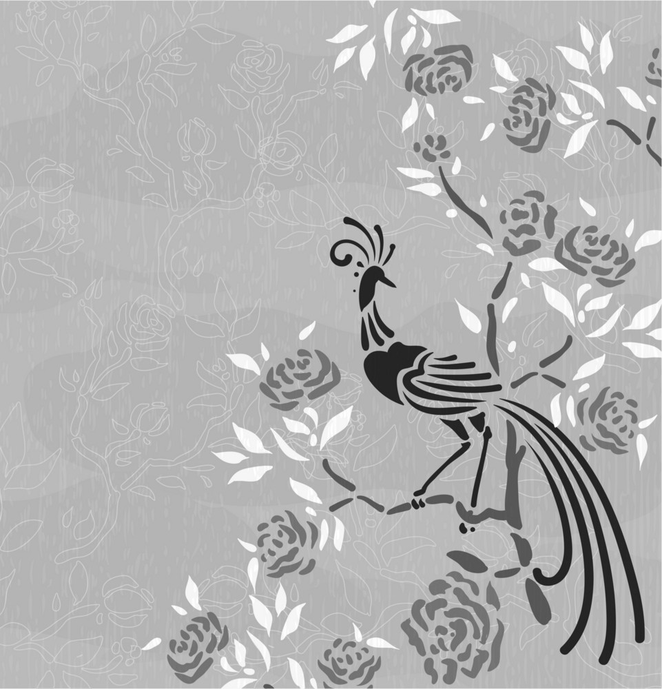 Vector Floral Background With Bird