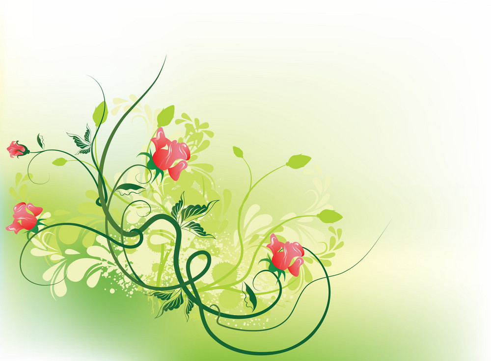 Vector Floral Background With Grunge