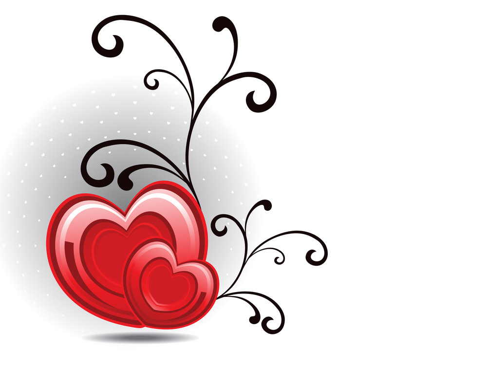 Vector Floral Decorated Romantic Heart