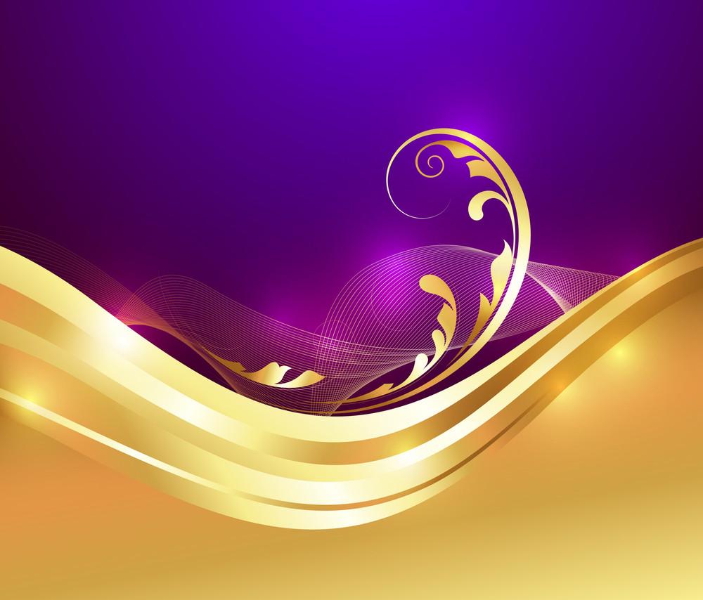 Vector Floral Golden Background