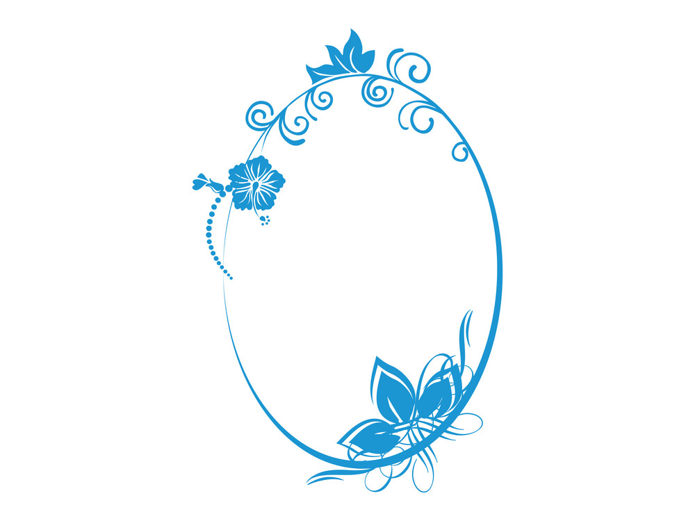 Vector Floral In Blue Oval Frame Theme