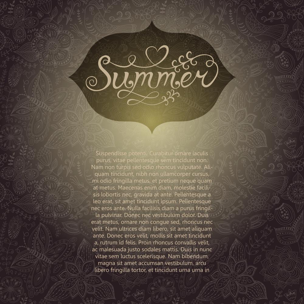 "Vector Floral Seamless Background. Vintage Label Design With ""summer"" Lettering. Floral Greeting Card With ""summer"" Lettering. You Can Design Cards"