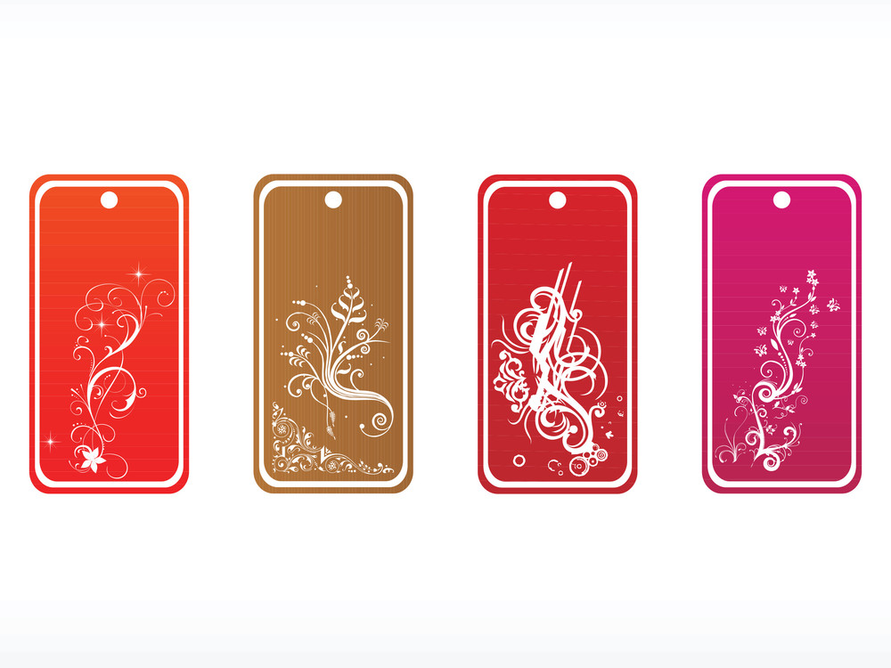 Vector Floral Tags With White Frame