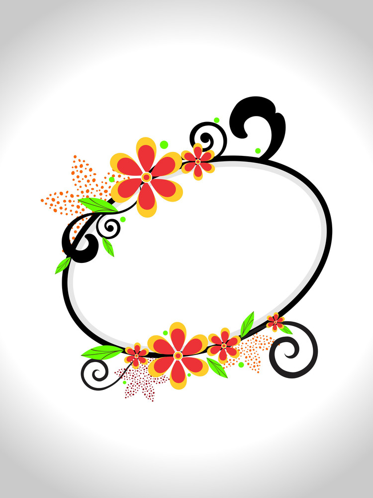 Vector Flower Decorated Frame