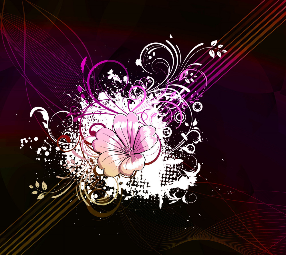 Vector Flower With Abstract Background