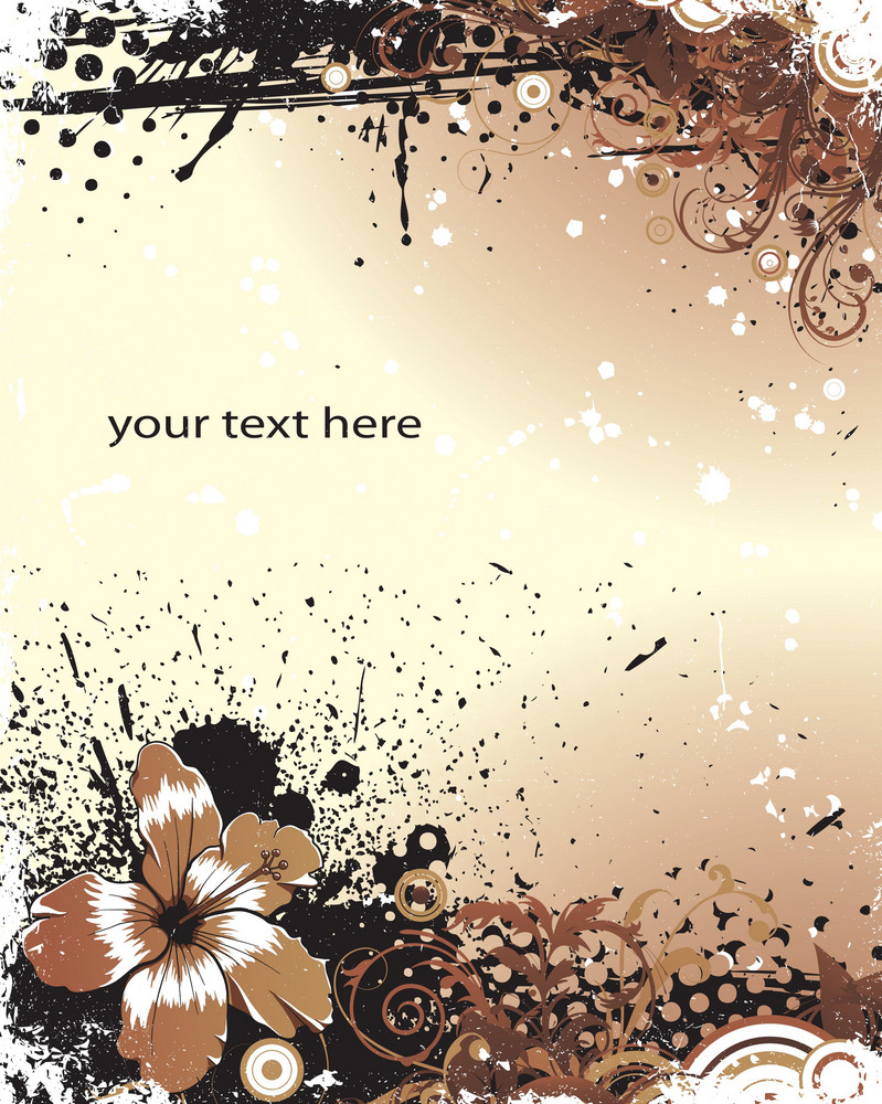 Vector Flower With Grunge Background