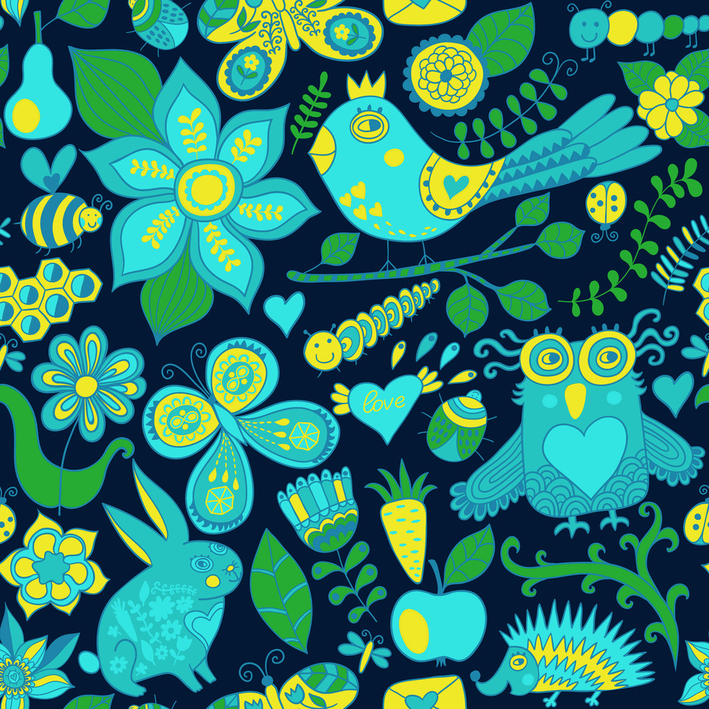 Vector Forest Seamless Pattern. Floral Background.owl