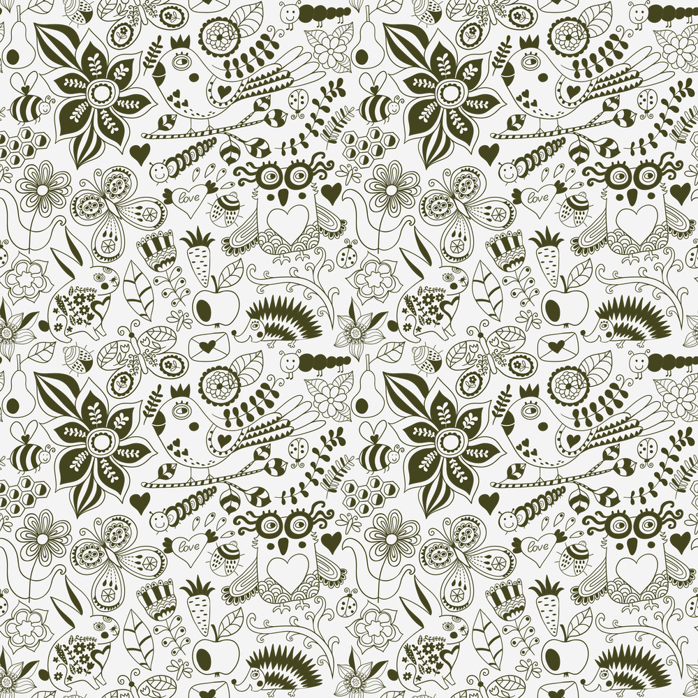 Vector Forest Seamless Pattern Floral Background Owl Royalty Free