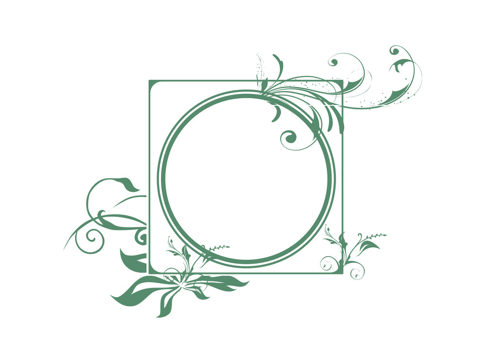 Vector Frame With Green Flowers