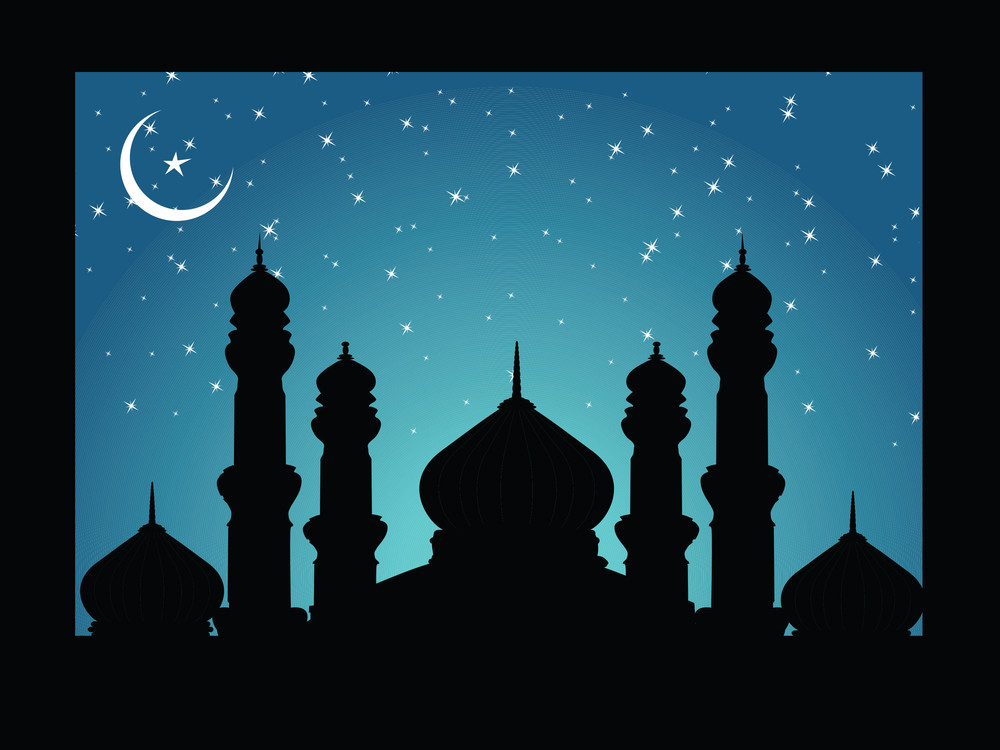 Vector Frame With Silhouette Of Mosques On Moon Night Background
