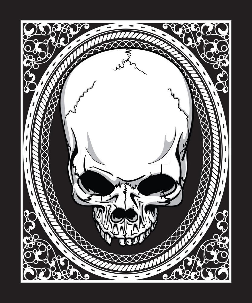Vector Frame With Skull Retro T-shirt Design