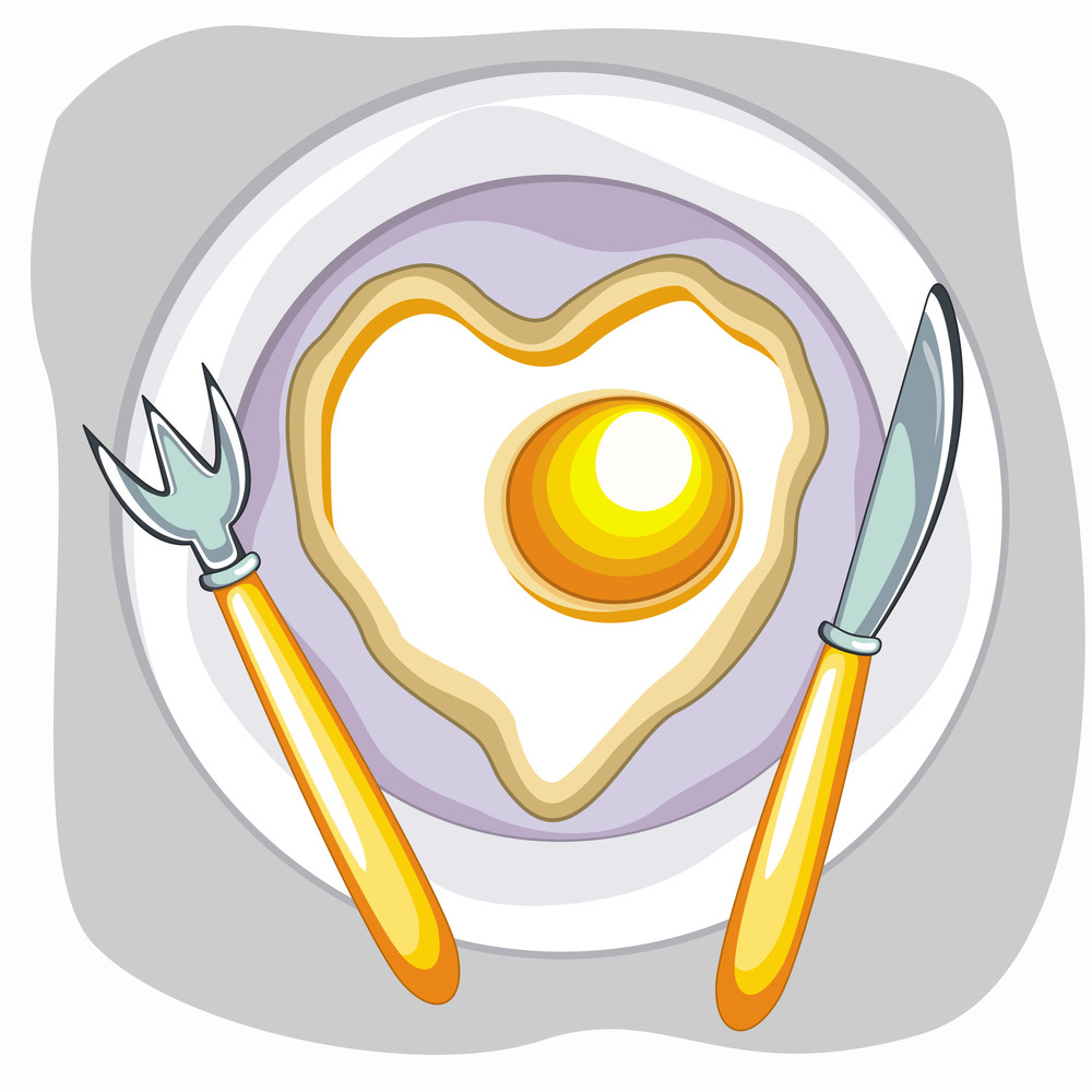 Vector Fried Egg Saucer With Spoon And Knife