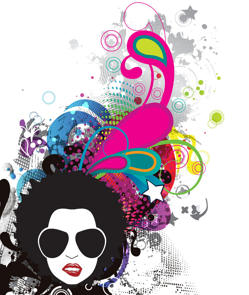 Vector Funky Face With Grunge Background