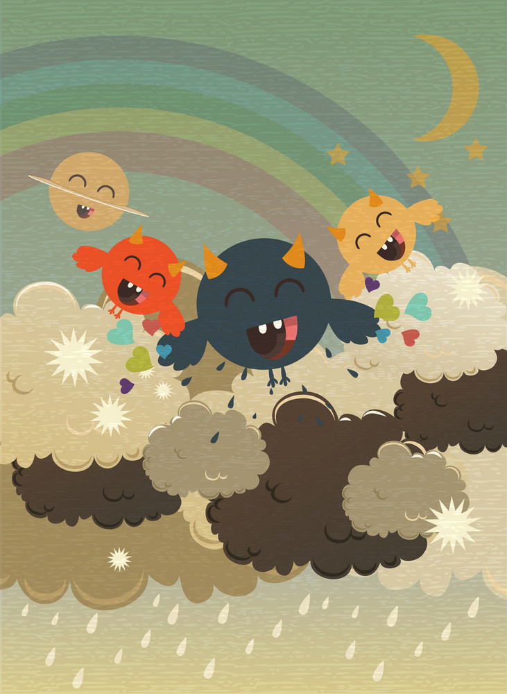 Vector Funny Background With Monster