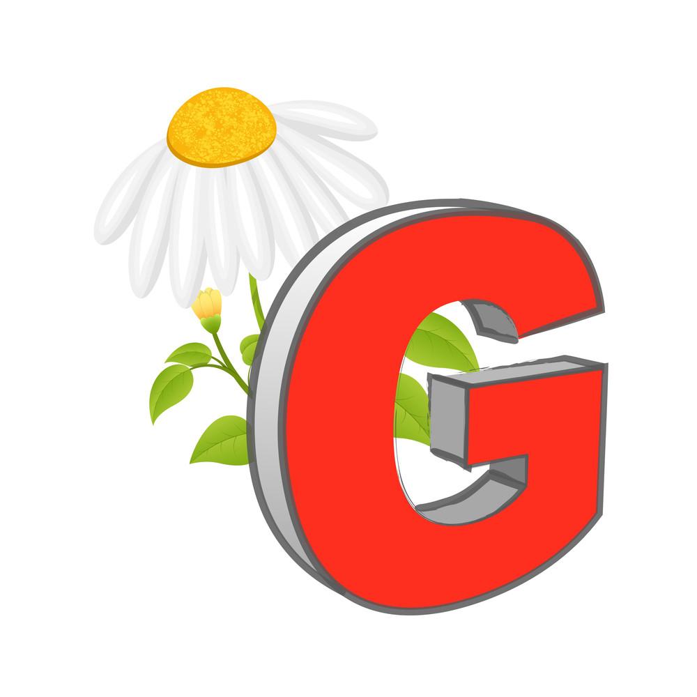 Vector G Alphabet With Flower