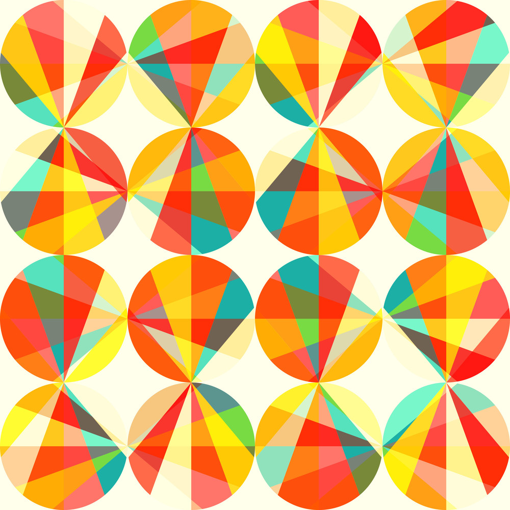 vector geometric pattern of circles and triangles colored circles