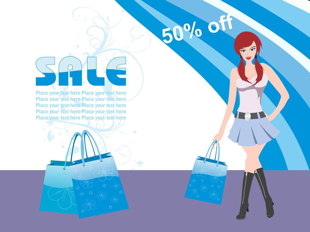 Vector Girl Holding Shopping Bag
