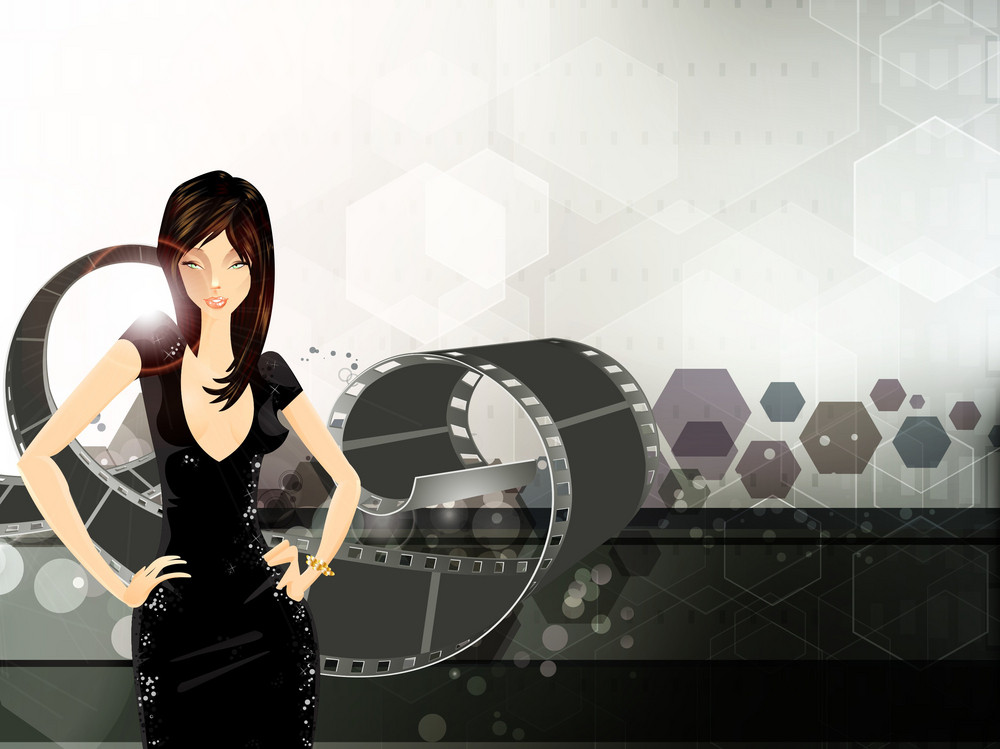 Vector Glamour Girl With Film Strip
