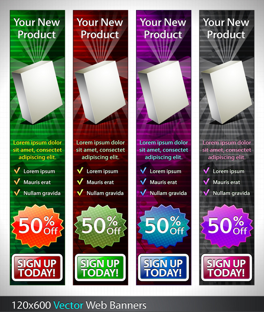 Vector Glossy Banners Set