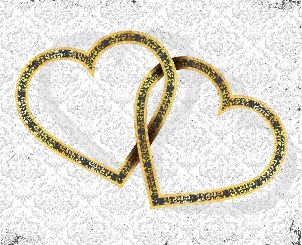 Vector Gold Hearts With Grunge Background