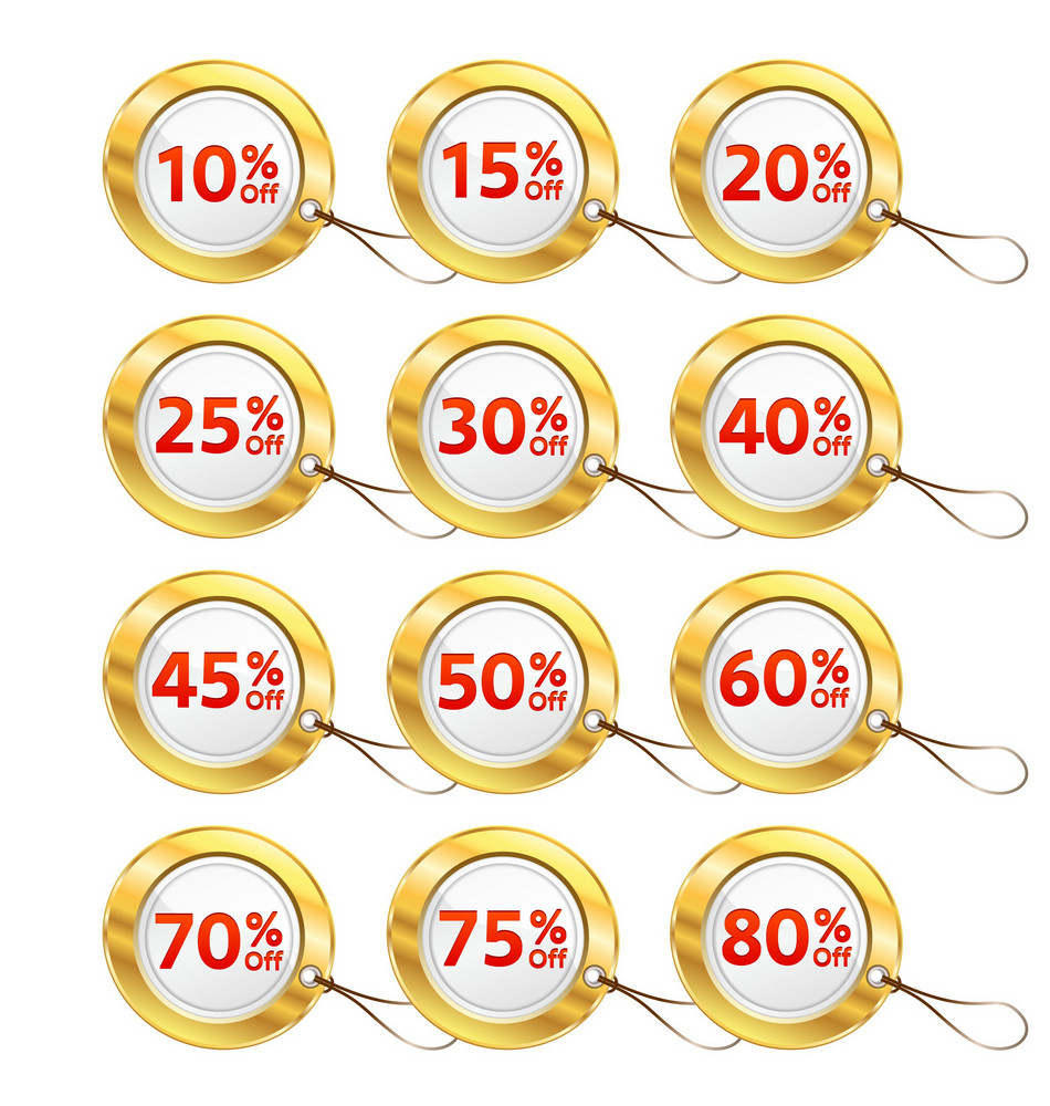 Vector Gold Shopping Tags Set