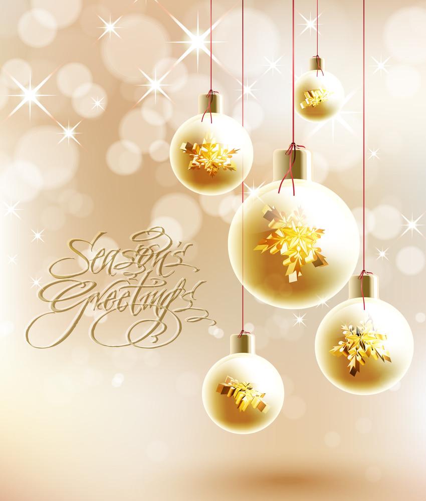 Vector Golden Christmas Baubles