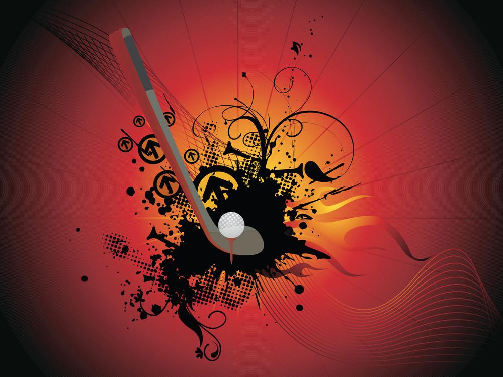 Vector Golf Pair Grunge Background Illustration
